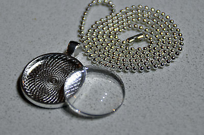10 x DIY round silver plated pendant kit - 1""