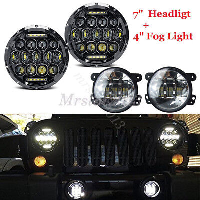 "1 Pair 7"" 75W CREE LED Headlight Projector & 4"" Fog Lights For Jeep Wrangler JK"