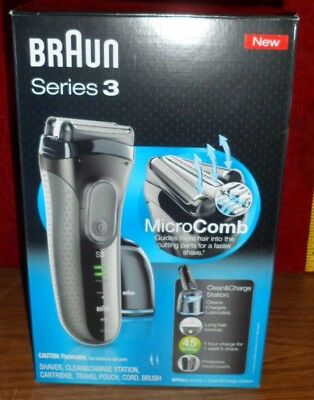 Braun Series 3 Shaver With Clean & Charge Station - Micro Comb - Wet & Dry