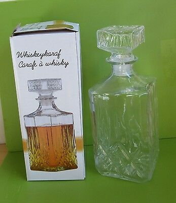 Crystal Decanter For Whisky Sherry Liquer Cut Glass Drinks Brandy Whiskey Bnib