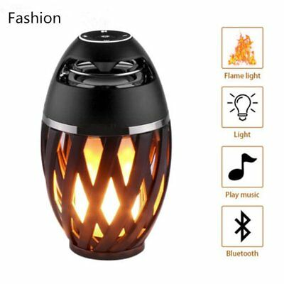 LED Torch Flickering Flame Light Bluetooth Speaker Atmosphere Stereo Lamp NI