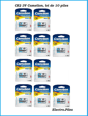 Set of 10 batteries/cells special photo CR2 3V lithium Camélion