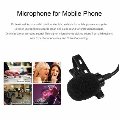 Portable Wired Clip-on Lapel Lavalier Microphone 3.5mm Jack with Storage Box N2