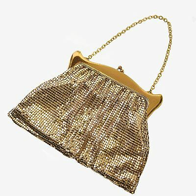 WHITING & DAVIS CO. Gold Mesh Vintage Evening Purse Made in USA