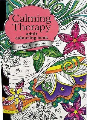 A4 COLOUR CALMING THERAPY BOOK Anti-Stress Relief Adult Colouring Calm 60 PAGES