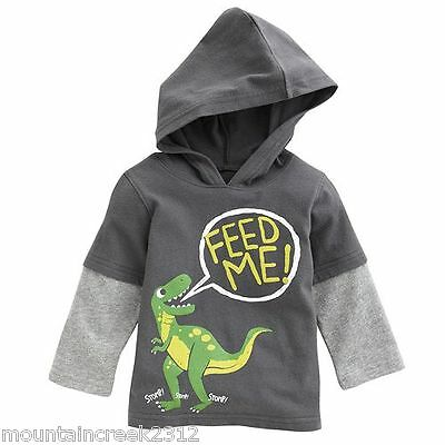 Jumping Beans Tee 12 months Dinosaur Hooded Long Sleeve Top Gray Infant New