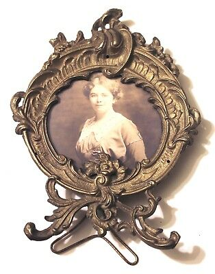 Antique Vintage Ornate Decorative Victorian Rococo Brass Round Picture Frame