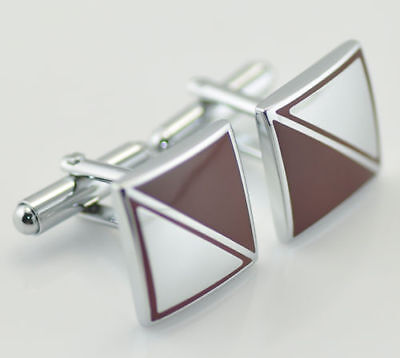 Square Cuff Links Cufflinks Red & Silver Diamond  Pattern Gift Bag or Box