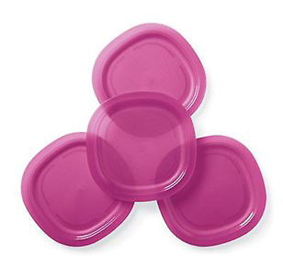 Tupperware Alfresco Large Microwave Safe Luncheon Plates (4) Fuchsia Pink New