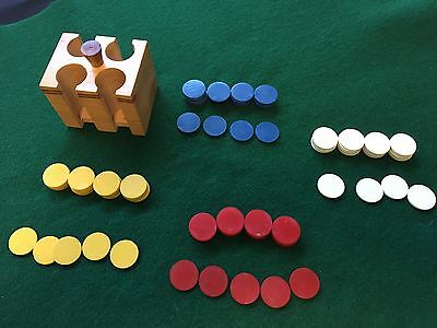 Set of 98 Miniature Mini Poker Chips or Gaming Chips in Wooden Caddy