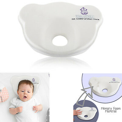 Newborn Baby Pillow Prevents Flat Head Memory Foam 100% Cotton Cover 0-6 month