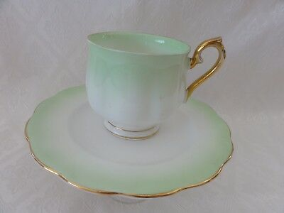 """Royal Albert, """"Rainbow"""" ,Green Duo Cup and Plate,  c 1950s"""