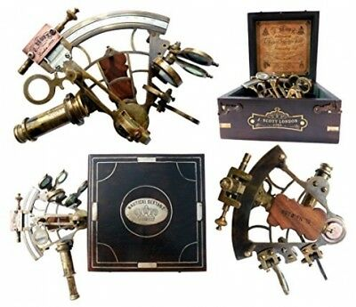 Brand New Brass Ship History Sextant with Hardwood Box w/ Best Quality Imported