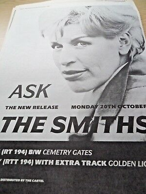 "The Smiths Advert ""ask""  Full Page  A3 From 1986"