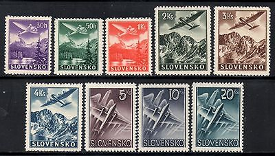 Slovakia 1939 Air Issue  SG.55/64  Mint (Very Lightly Hinged)  Set of 9
