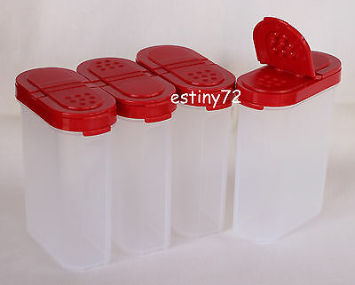 Tupperware Modular Mates Large Spice Containers Set (4) Popsicle Red Seals New