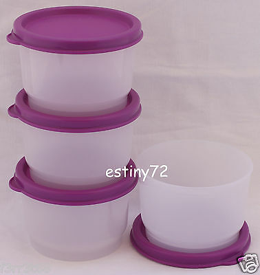Tupperware Everyday Kids Snack Cups Set (4) Natural & Purplicious / Purple New