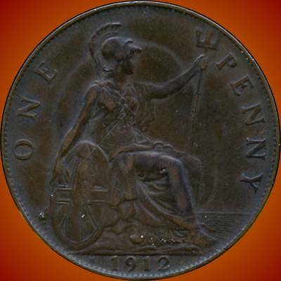1912 'H' Great Britain 1 Penny Coin