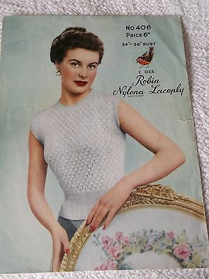 ORIGINAL VINTAGE 1950's ROBIN KNITTING PATTERN No.406 JUMPER in BUBBLE-STITCH