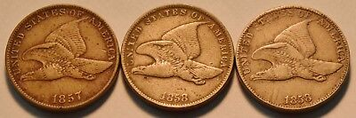 Lot (3) Middle - Higher Grade Flying Eagle Cents 1857 1858 SM LG Letters Penny1C