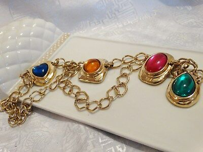 """Gorgeous Vintage Gold Tone With Cabochons Chain Belt 34 1/4"""" Long"""