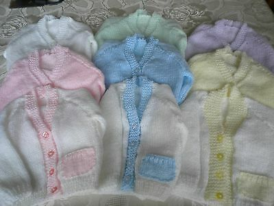 Hand Knitted Newborn Baby Cardigans. Choice of Colours. New.