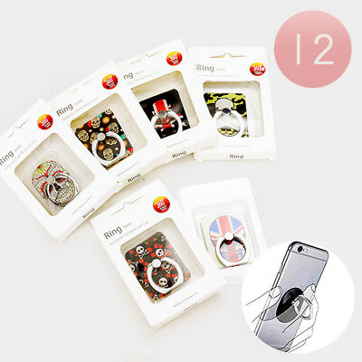 12 Assorted Colorful Skull  Cell Phone Ring Holder Mounts NIB Wholesale Lot