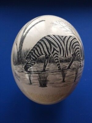 African Art Carved Ostrich Egg with Zebras