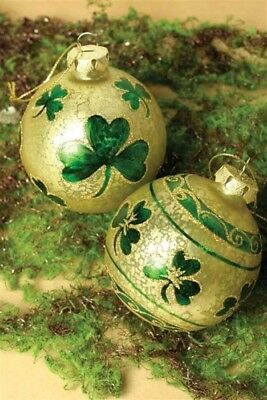 Victorian Trading Co 2 O' Reilly's Orb Shamrock Irish Christmas Ornaments