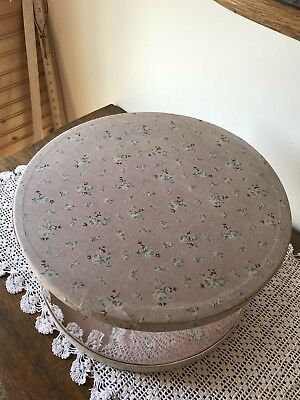 Antique Faded Pink Rose Fabric and Clear Plastic Women's Hat Storage Box