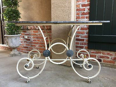 Antique French Pastry Baker's Table Scrolled Iron w Marble Top Kitchen Island