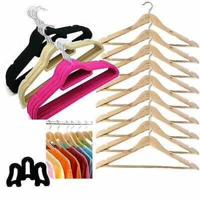 10-50 Velvet Hangers Non Slip Clothes Organiser Flocked Hanger Shirts Coat Pants