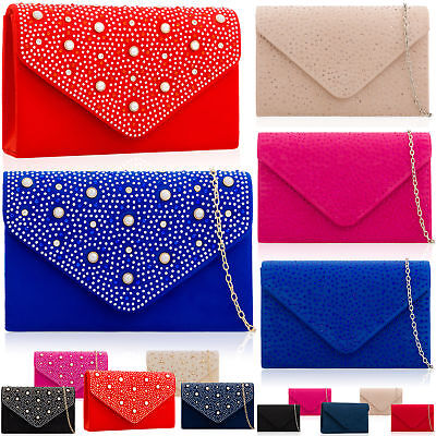 7b3841ded2 Gems Faux Suede Leather Envelope Women Clutch Wedding Evening Party Bridal  Bags
