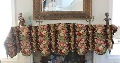 Luscious Rare French Antique Block Printed Wool Floral Stripe Valence c1855