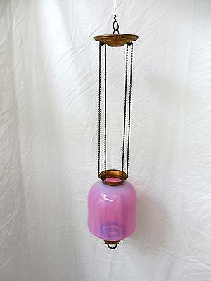 NICE Antique Cranberry Opalescent Glass Pendant Hanging Light w PULL DOWN CHAINS