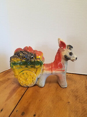 Vintage Antique Donkey Burro and Cart Chalkware Chalk Ware Piggy Penny BANK