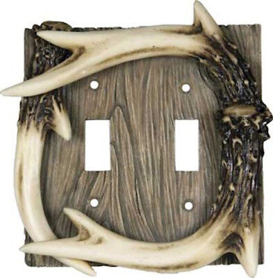 Deer Antler Double switch Cover Electrical Outlet Switch Plate Cabin Decor 4132
