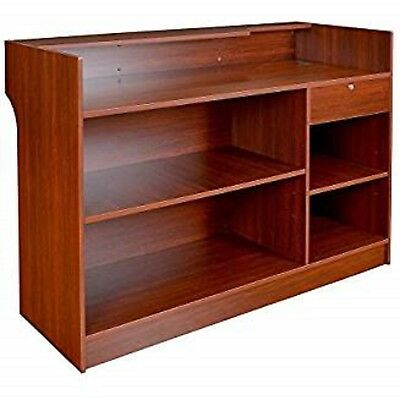 """70""""W Free-Standing Cherry Melamine Register Stand and Check Writing Area"""