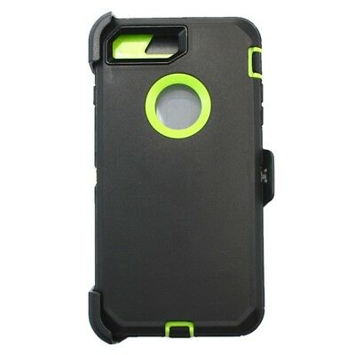 For Apple iPhone 7 Plus Defender Case w/ (Belt Clip Fits Otterbox) Black Green