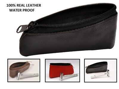 Double Edge Safety Razor Case For Travel - Razor Pouch 100% Buffalo Leather case