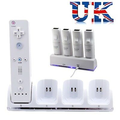 4PCS Rechargeable Battery Pack & Charging Dock for Wii Remote Controller White