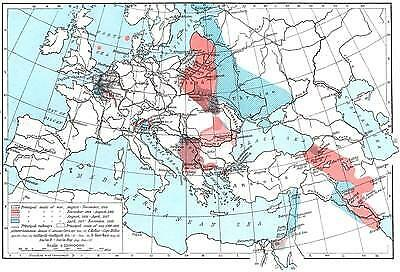 EUROPE: Principal seats of War, 1914-1918, 1956 map