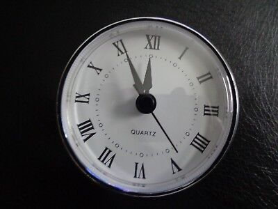"2-3/4"" (70mm) QUARTZ CLOCK FIT-UP/Insert, Roman Numeral, White Face,Silver Trim"