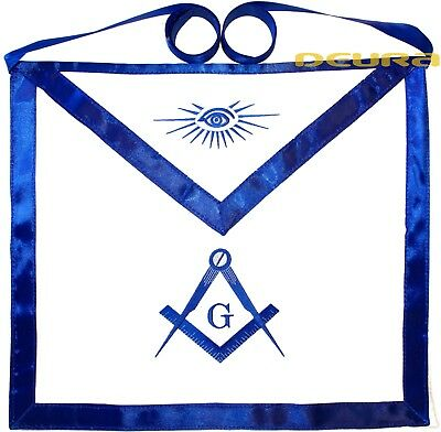 Blue Lodge Chain Collar Master Mason Apron with Square Compass DMA-1000