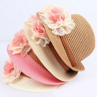Summer Cute Baby Girls Kids Cap Flowers Decor Straw Beach Sun Wide Brim Hat