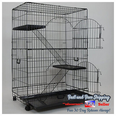 Large Pet Cage Ferret Sugar Glider Parrot Bird Three Tier Shelves Tray Casters