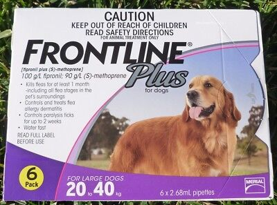 Frontline Plus for Large Dogs 45-88lbs (20-40kg) Purple Box 6 Pack 6 Months