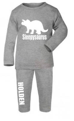 Personalised sleepysaurus your name print kids baby pyjamas dinosaur girls boys