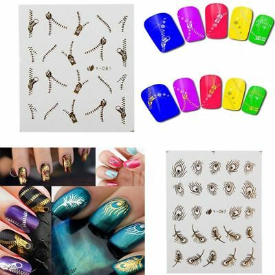 3D Acrylic Manicure Gold Silver Nail Art Tips Stickers Wraps