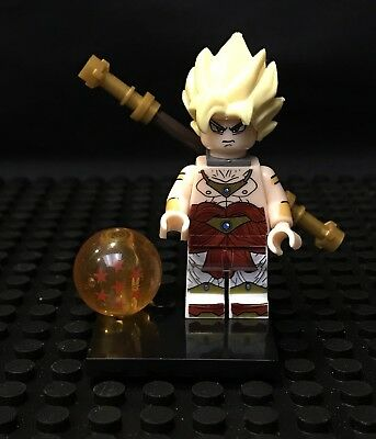 Dragon Ball Z Super Saiyan Broly Minifigure + Stand for Lego Goku Frieza USA
